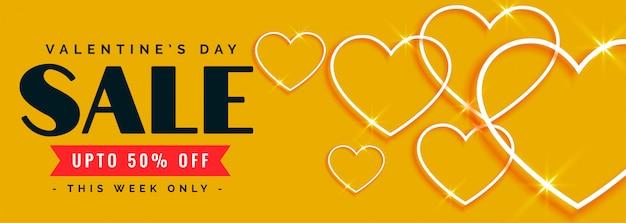 Belle Vente Heureuse Saint Valentin Et Bannière D'offre Vecteur gratuit