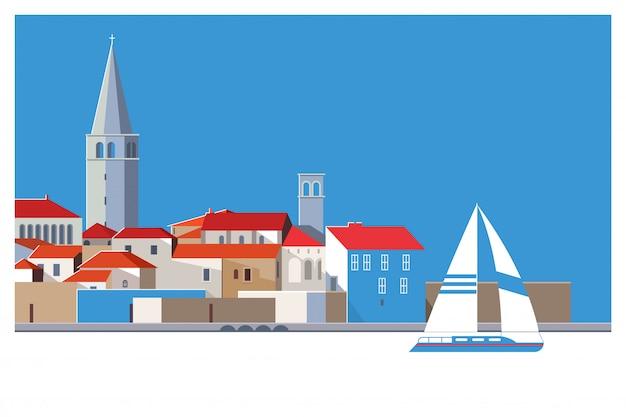 Belle vieille ville romantique de porec Vecteur Premium