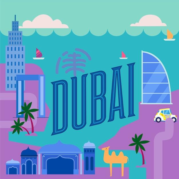 La Belle Ville De Dubai Lettrage Vecteur gratuit