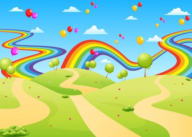 La belle vue avec le champ vide et ballon coloré Vecteur Premium