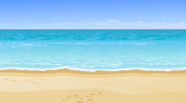 Belle vue sur la mer. concept de vacances d'été. Vecteur gratuit