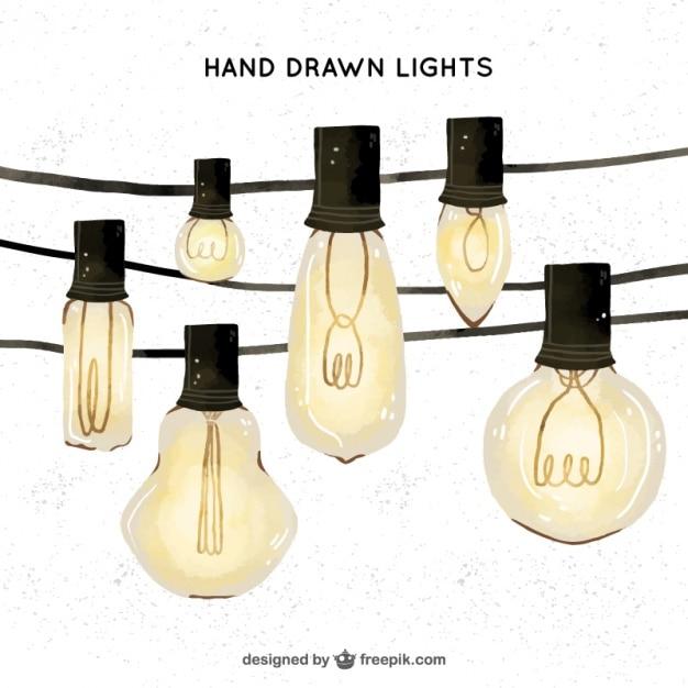 Belles Ampoules D'aquarelle Vecteur gratuit