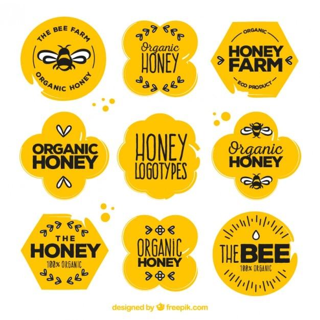 Belles autocollants de miel organiques avec des dessins ensemble Vecteur gratuit