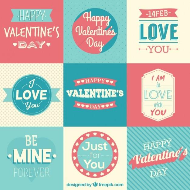 Belles Badges De Jour De Saint-valentin Et Des Phrases Dans Un Style Rétro Vecteur gratuit
