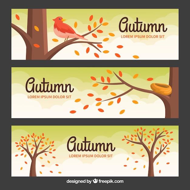 Belles bannières automne avec un design plat Vecteur gratuit
