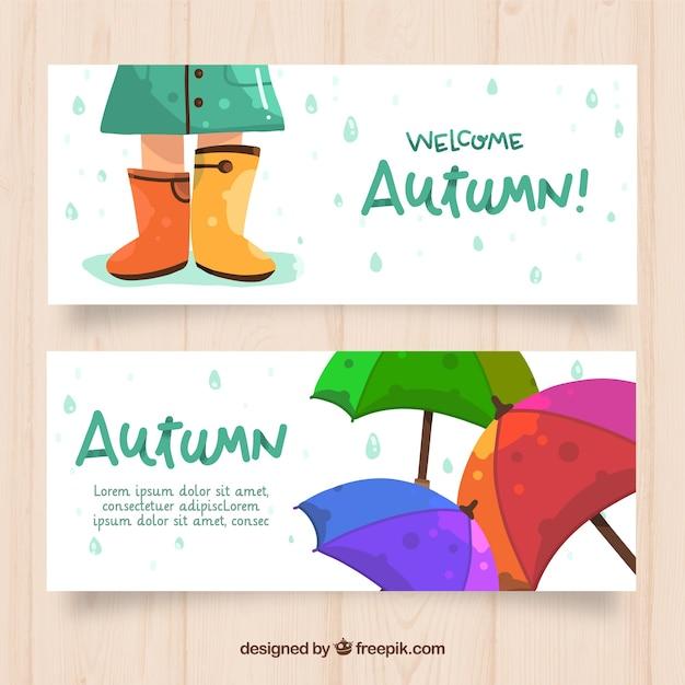 Belles bannières automne avec style dessiné à la main Vecteur gratuit