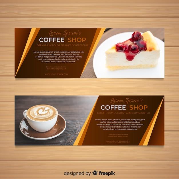 Belles bannières de café avec photo Vecteur gratuit