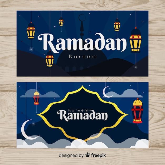 Belles bannières du ramadan Vecteur gratuit