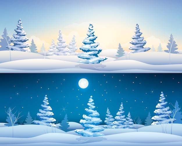 Belles Bannières Horizontales D'hiver Avec Paysage De Fées Sapins Enneigés Jour Et Nuit Vecteur gratuit