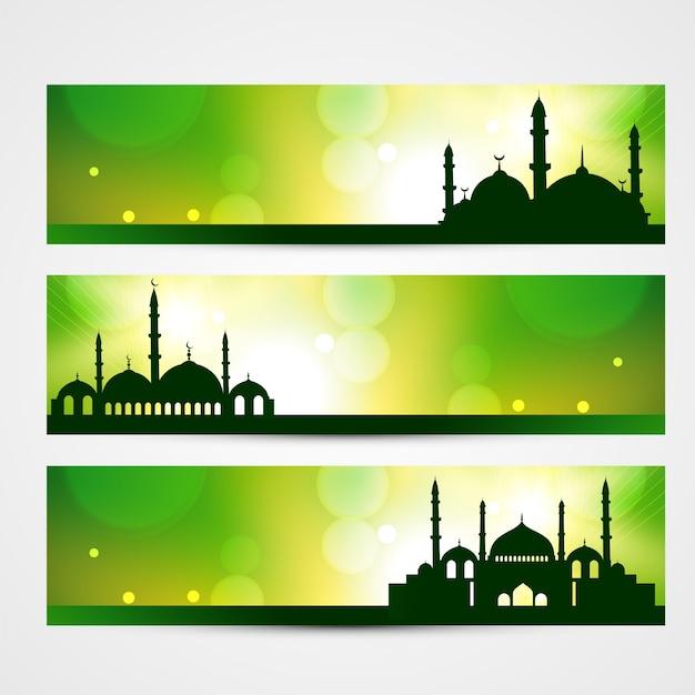 Belles Bannières De Ramadan Kareem Et Eid Vecteur gratuit