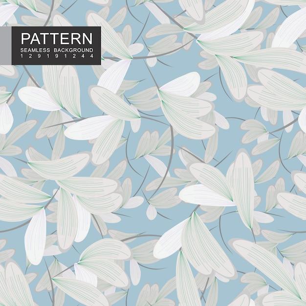 Belles branches avec feuilles blanches modèle sans couture Vecteur Premium