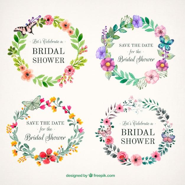 Belles cadres floraux avec des papillons Vecteur gratuit