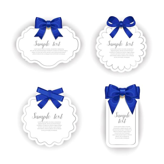 Belles Cartes Avec Collection D'arcs Cadeaux Vecteur Premium