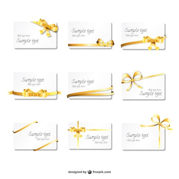 Belles cartes de ruban d'or Vecteur gratuit