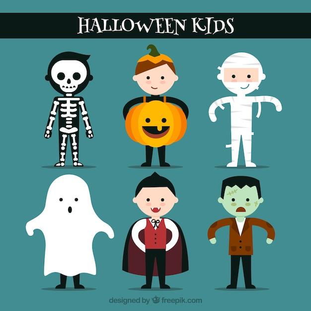 Belles enfants prêts à célébrer halloween Vecteur gratuit