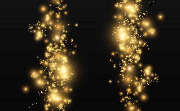 De Belles étincelles Brillent D'une Lumière Spéciale. Le Vecteur Brille Sur Un Fond Transparent. Modèle Abstrait De Noël. Une Belle Illustration Pour La Carte Postale. L'arrière-plan De L'image. Luminaires. Vecteur Premium