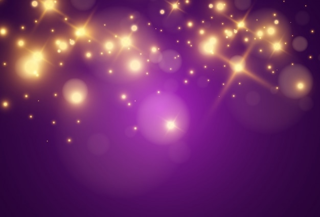 Belles étincelles Dorées Lumineuses Sur Fond Transparent. Vecteur Premium