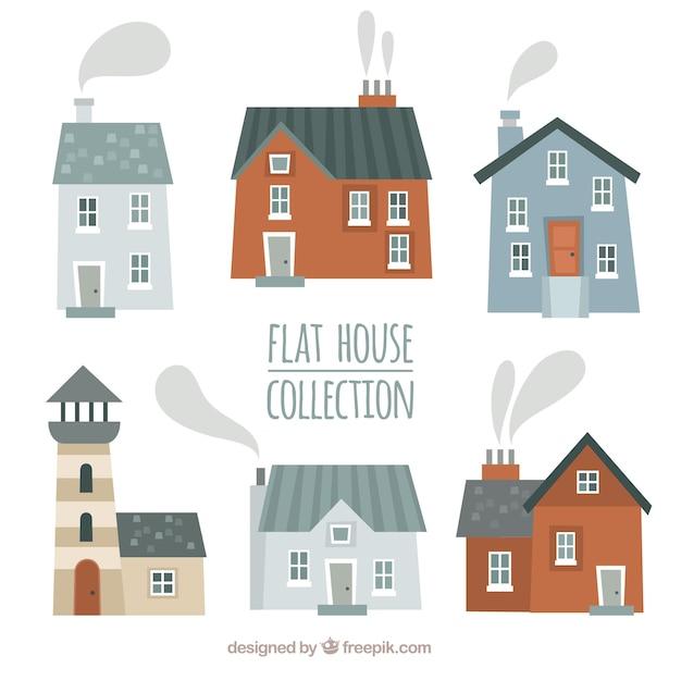 Belles façades de collecte de maisons | Télécharger des Vecteurs ...