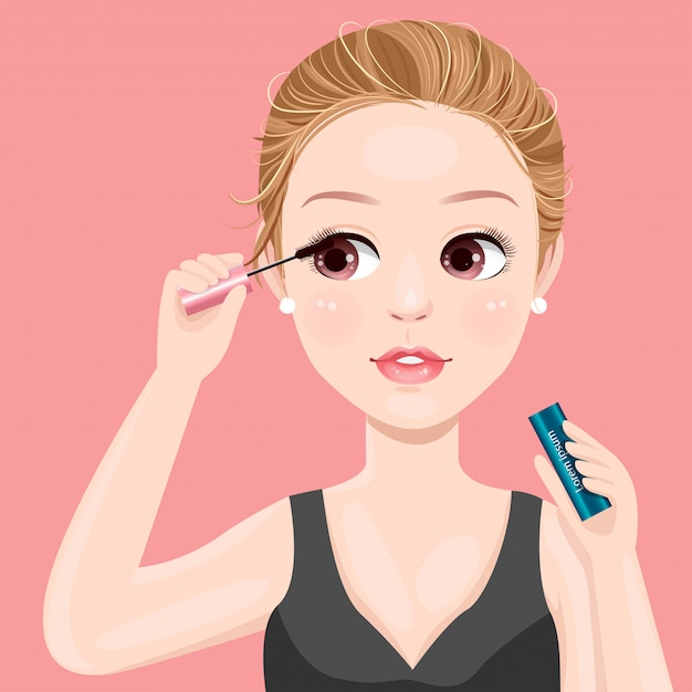 Belles femmes maquiller avec mascara Vecteur Premium