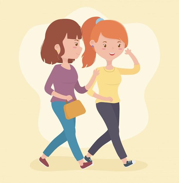Belles femmes marchant en utilisant des smartphones Vecteur gratuit