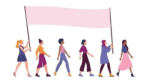 Belles Femmes De Race Ou De Nationalité Différente Debout Avec Une Grande Bannière. Féminisme Et Pouvoir Des Filles. égalité Des Sexes Et Mouvement Des Femmes. Vecteur Premium