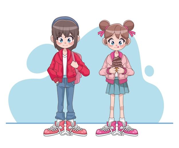 Belles Filles Adolescentes Couple Illustration De Personnages Anime Vecteur Premium