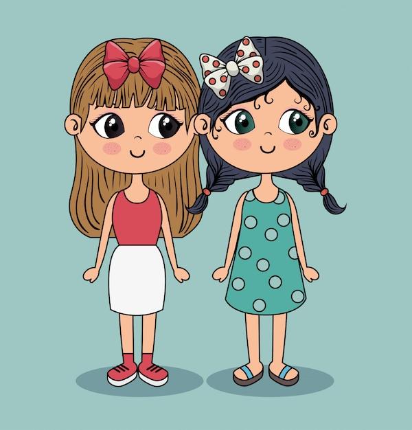 Belles Filles Avec Jupe Blanche Et Robe Bleue Vecteur gratuit
