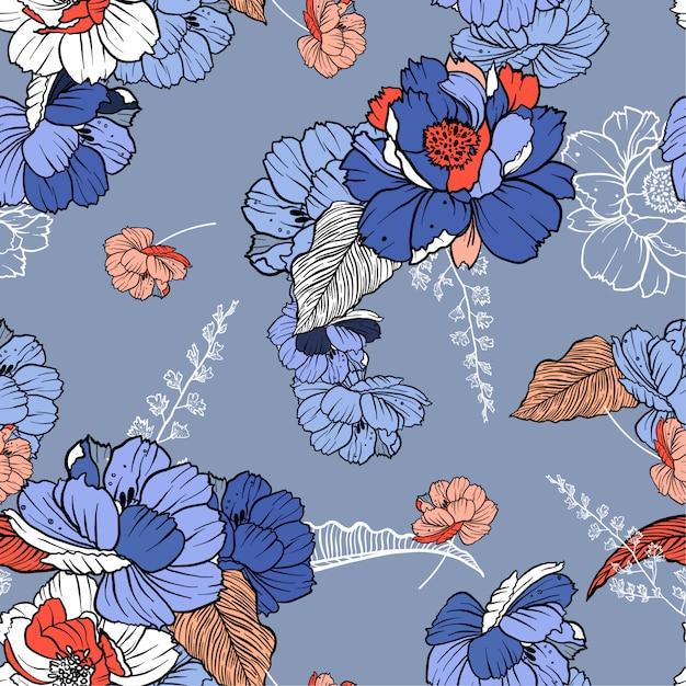 Belles fleurs botaniques douces Vecteur Premium