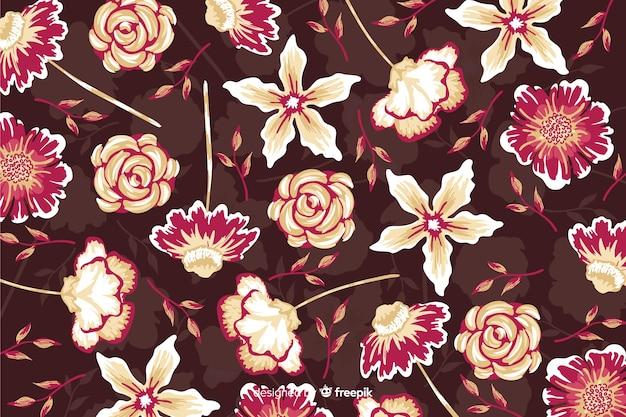 Belles fleurs avec fond de roses et de marguerites Vecteur gratuit