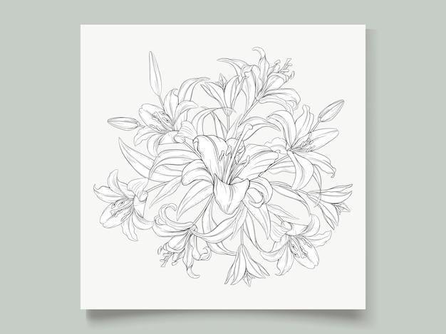 Belles Fleurs De Lys Guirlande Dessinés à La Main Vecteur gratuit