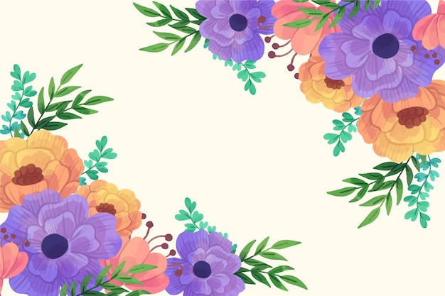 Belles Fleurs Orange Et Violettes Fond De Printemps Vecteur gratuit
