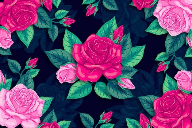 Belles Fleurs Roses Naturelles Dessinées à La Main Vecteur gratuit