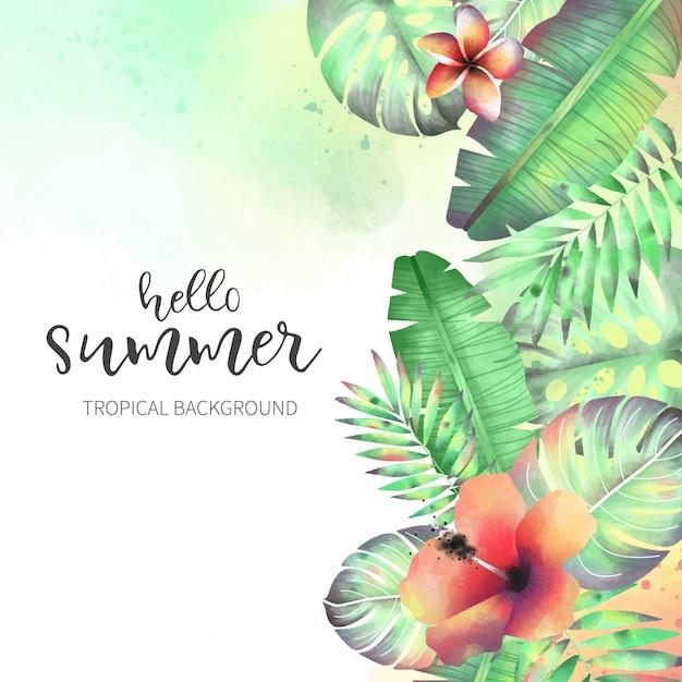 Belles fleurs tropicales sauvages Vecteur gratuit
