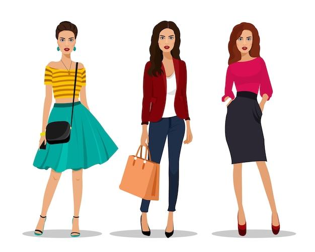 Belles Jeunes Femmes En Vêtements De Mode. Personnages Féminins Détaillés Avec Accessoires. Illustration. Vecteur Premium