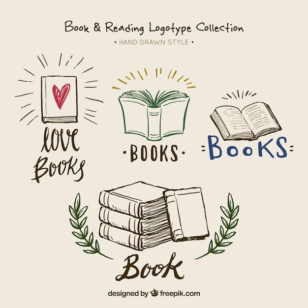 Belles Logotypes De Livres Dessinés à La Main Vecteur Premium
