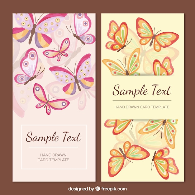 Belles papillons cartes Vecteur gratuit