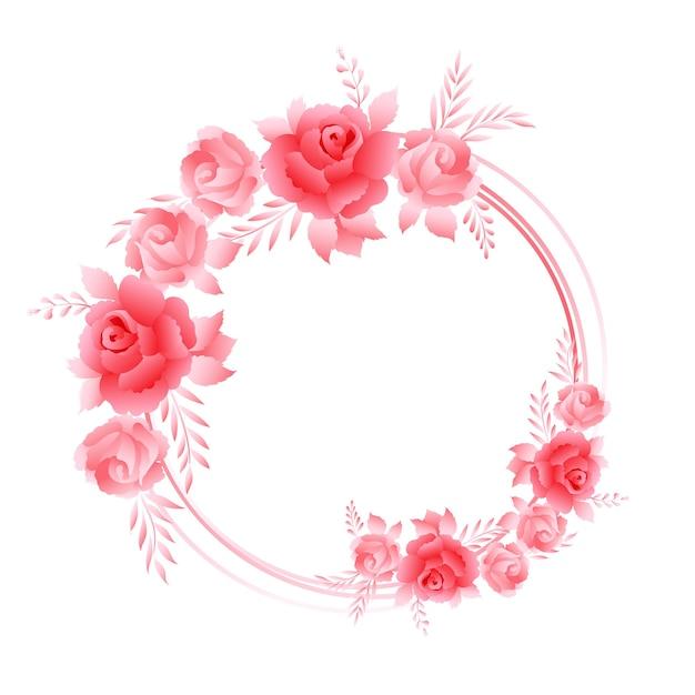 Belles Roses Roses, Composition De Cadre De Guirlande Vecteur gratuit