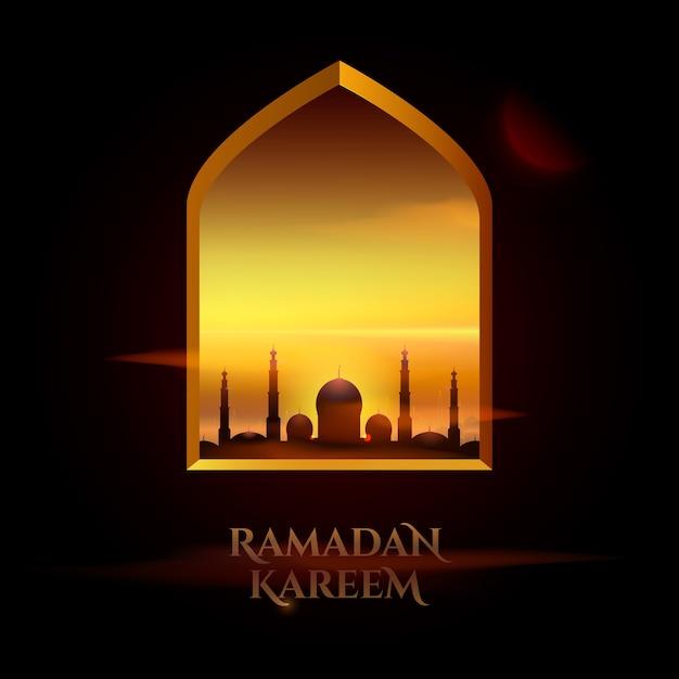 Belles Salutations Pour Le Mois Sacré Du Ramadan Kareem Vecteur gratuit
