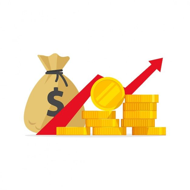 Bénéfice D'argent Ou Dessin Animé Plat De Gains Budgétaires En Hausse |  Vecteur Premium