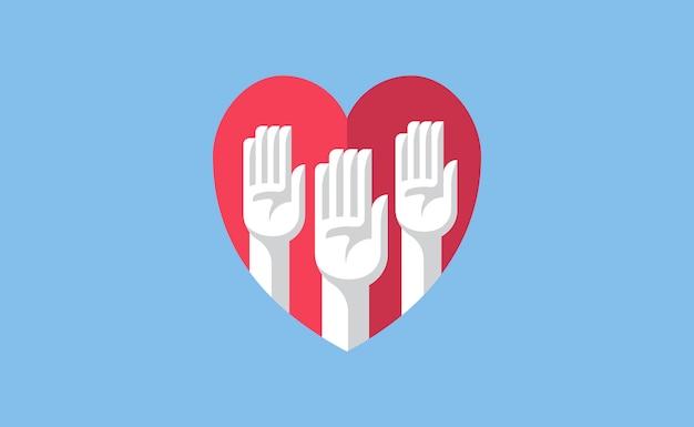 Bénévole mains dans une illustration de coeur Vecteur Premium