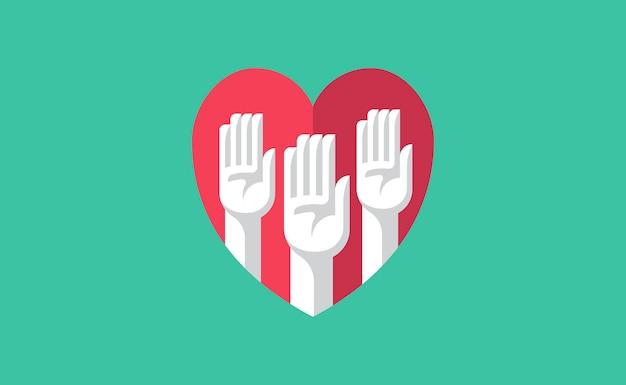 Bénévole Mains Dans Une Illustration De Coeur Vecteur gratuit