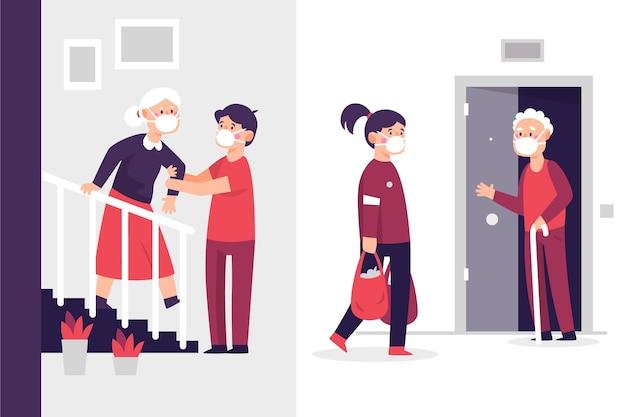 Bénévoles Aidant Les Personnes âgées Vecteur gratuit