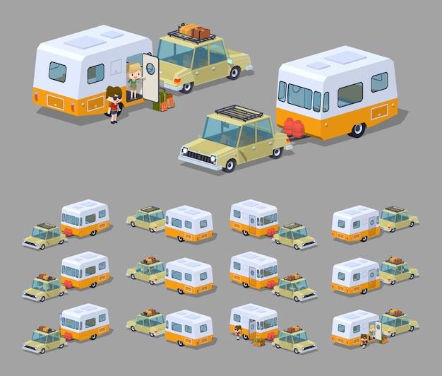 Berline beige avec camping-car rv isométrique 3d orange / blanc 3d lowpoly Vecteur Premium