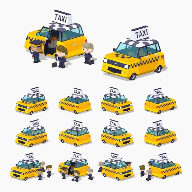 Berline de taxi isométrique 3d lowpoly avec les passagers Vecteur Premium