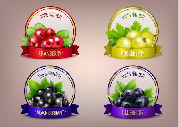 Berry Labels Collection Eco Réaliste Vecteur gratuit