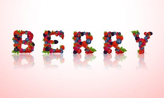 Berry Mot Lettrage Vecteur gratuit