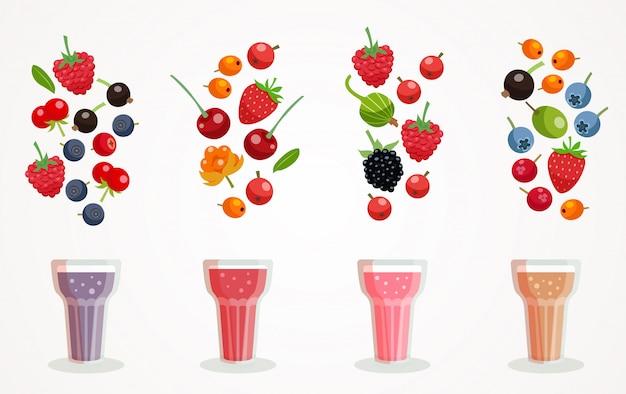 Berry Smoothies Set Vecteur gratuit