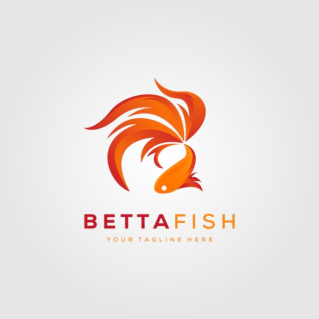 Betta Fish Fire Design De Logo Moderne Illustration Vecteur Premium