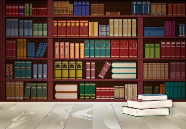 Bibliothèque dans la bibliothèque et livre sur la table en bois Vecteur Premium