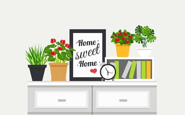Bibliothèque avec plantes d'intérieur illustration Vecteur gratuit